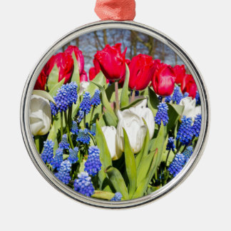 Red white blue flowers in spring season Silver-Colored round decoration