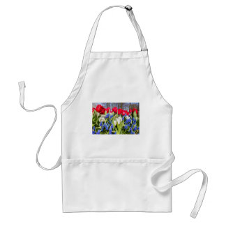Red white blue flowers in spring season standard apron