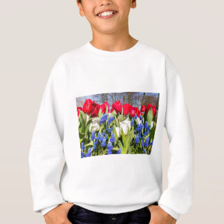 Red white blue flowers in spring season sweatshirt