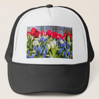 Red white blue flowers in spring season trucker hat