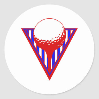 Red White Blue Golf Round Sticker