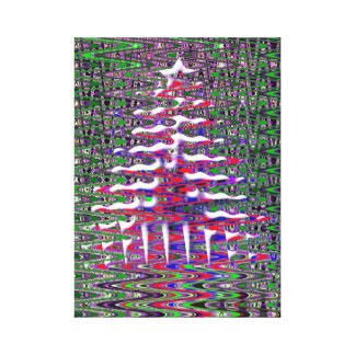 Red White Blue Green Abstract Christmas Tree Art Canvas Print