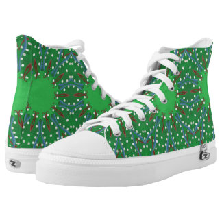 Red White Blue Green Kaleidoscope Christmas Shoes Printed Shoes