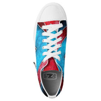 Red White & Blue Grunge Printed Shoes