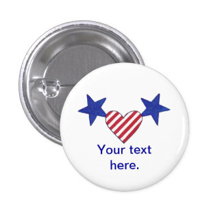 Red White Blue Heart Stars and Stripes Buttons
