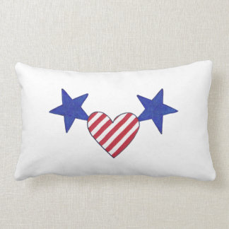 Red White Blue Heart Stars and Stripes Pillows Cushions