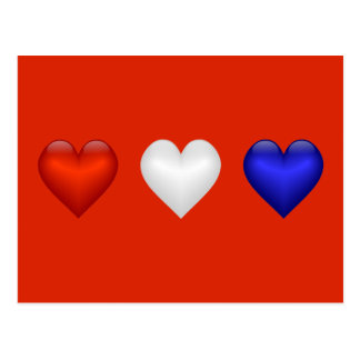 Red White & Blue hearts Postcard