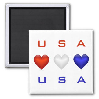 Red White & Blue hearts Square Magnet