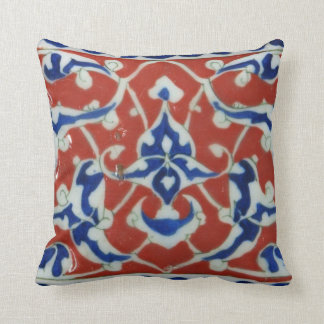 Red, white, blue Iznik Turkish Tile Ottoman Empire Cushion