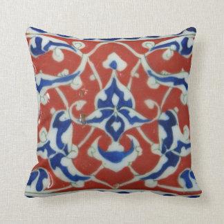 Red, white, blue Iznik Turkish Tile Ottoman Empire Throw Pillow