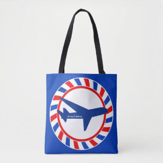 Red White Blue Jet Aircraft All Over Print Totebag Tote Bag