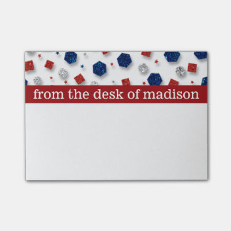 Red, White & Blue Jewels Post It Notes