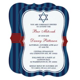 Red, White & Blue Jewish Star Of David Bar Mitzvah Card