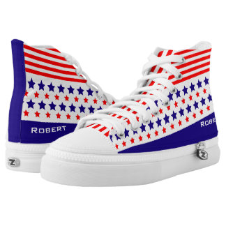 Red White Blue Lines and Stars Patriot American High Tops