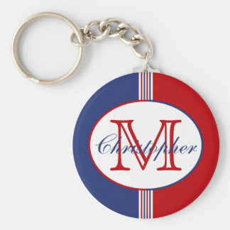 Red White Blue Monogram Key Ring