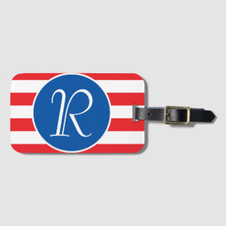 Red White & Blue Monogram Luggage Tag