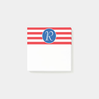 Red White & Blue Monogram Post-it Notes