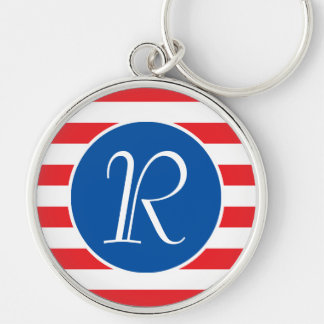 Red White & Blue Monogram Silver-Colored Round Key Ring