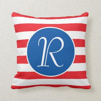 Red White & Blue Monogram Throw Pillow