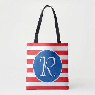 Red White & Blue Monogram Tote Bag