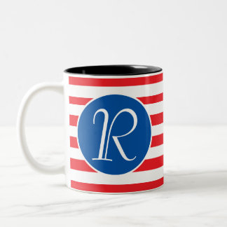 Red White & Blue Monogram Two-Tone Coffee Mug