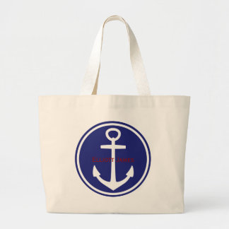 Red White Blue Nautical Anchor Personalized Large Tote Bag