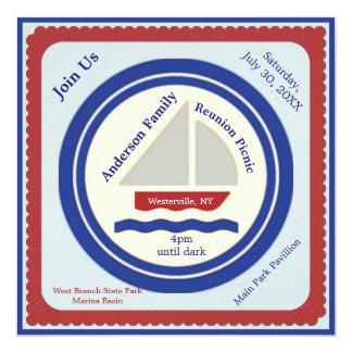Red, White, Blue Nautical Picnic Invitation