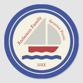Red,White,Blue Nautical Sailboat Sticker