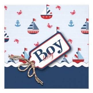 Red White Blue Nautical Ships Ahoy Baby Shower S1 Invitation
