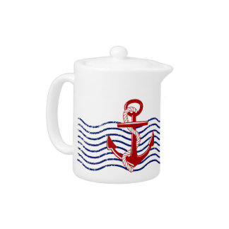 Red, White & Blue Nautical Tea Pot