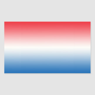Red White & Blue Ombre Rectangular Sticker