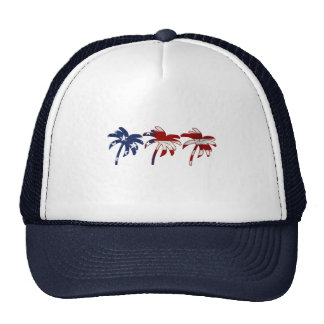 Red White Blue Palm Tree Mesh Hats