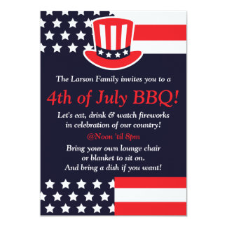 Red, White & Blue Party 4th of July Invitations