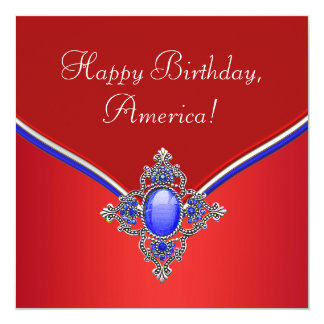Red White Blue Patriotic 4th of July Party Card