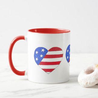 Red White Blue Patriotic American Flag Heart USA Mug