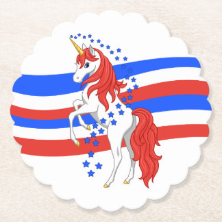 Red White Blue Patriotic American Unicorn Paper Coaster