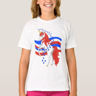 Red White Blue Patriotic American Unicorn T-Shirt