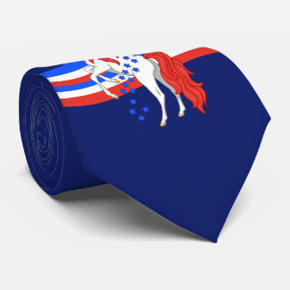 Red White Blue Patriotic American Unicorn Tie