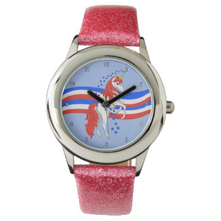 Red White Blue Patriotic American Unicorn Watch