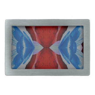 Red White Blue Patriotic Artistic Design Belt Buckle
