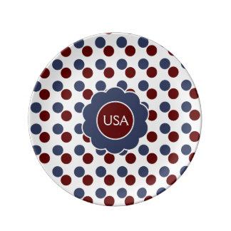 Red White Blue Polka Dot Porcelain Plates