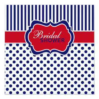 Red White Blue Polka Dot Stripe Shower Invite