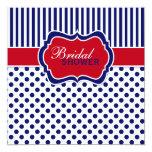 Red White Blue Polka Dot Stripe Shower Invite 13 Cm X 13 Cm Square Invitation Card