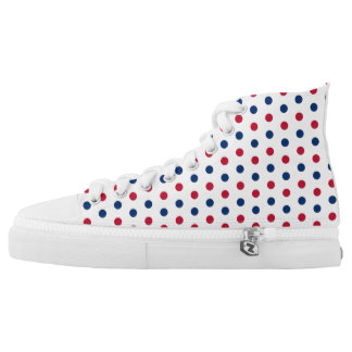 Red, White & Blue Polka Dots High Tops