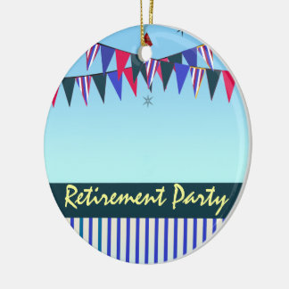 Red White Blue Retirement Party Round Ceramic Decoration