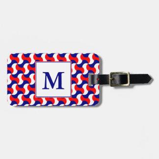 RED WHITE & BLUE RETRO PRINT with MONOGRAM Bag Tag