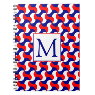 RED WHITE & BLUE RETRO PRINT with MONOGRAM Notebook