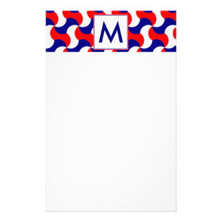 RED WHITE & BLUE RETRO PRINT with MONOGRAM Personalised Stationery