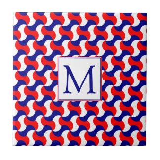 RED WHITE & BLUE RETRO PRINT with MONOGRAM Small Square Tile