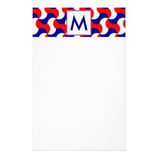 RED WHITE & BLUE RETRO PRINT with MONOGRAM Stationery